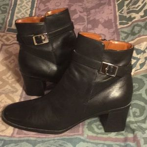 NWOT Black Leather Ankle Boots
